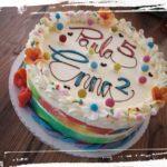 Smarties - Torte mit herauspurzelten Smartieskern