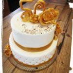 goldene Torte zum 50. Hochzeitstag